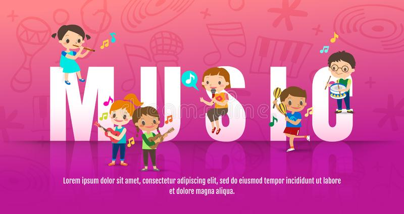 Children playing musical instruments. Music concept vector cartoon illustration. Kids singing and playing guitar around big  MUSIC vector illustration