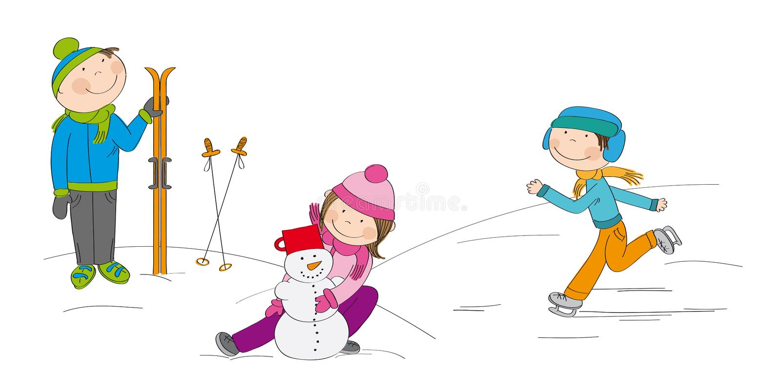 Children playing outside in the snow royalty free illustration