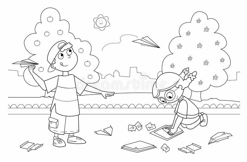 Children playing with paper airplanes vector illustration