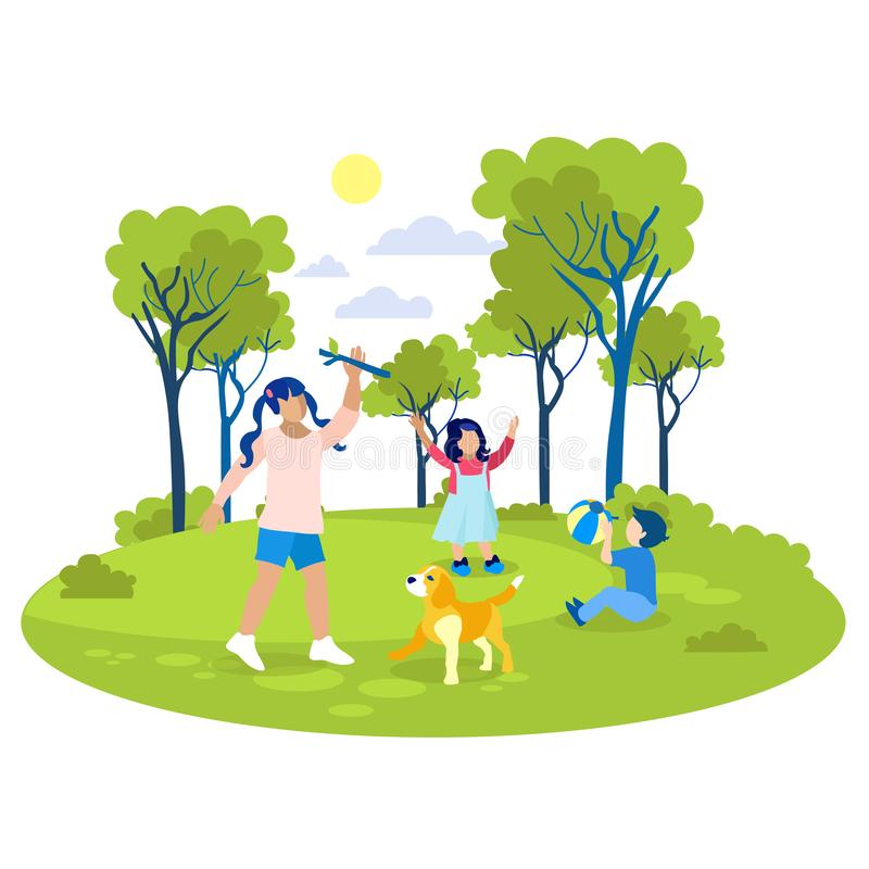 Children Playing in Park Flat Cartoon Illustration. Children Playing in Park Flat Cartoon. Vector Eldest Girl Throwing Stick to Dog. Younger Sister and Little royalty free illustration