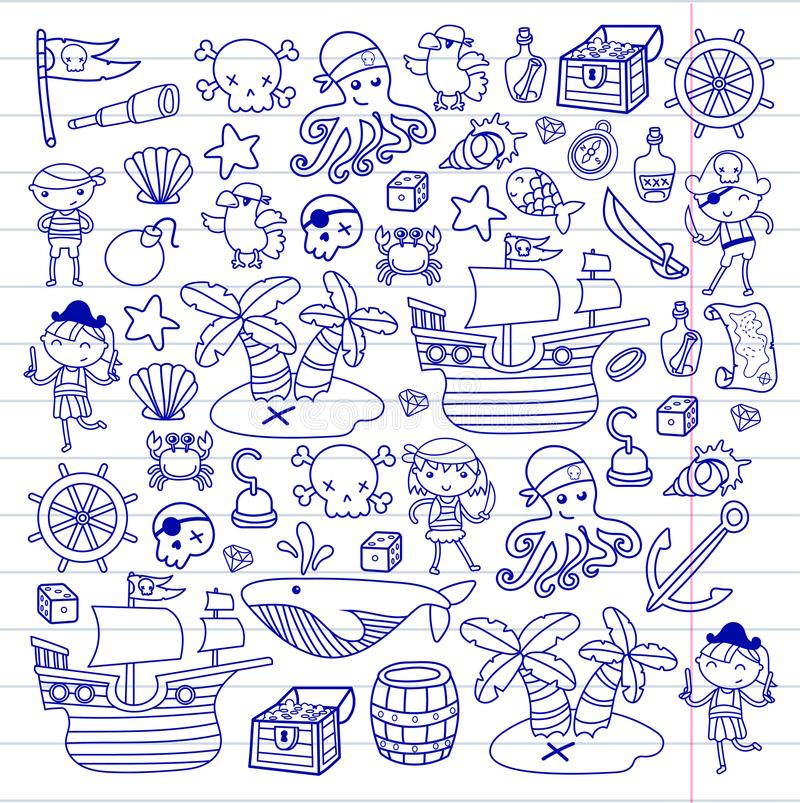 Children playing pirates Boys and girls Kindergarten, school, preschool, halloween party Treasure island, pirate ship. Crab, parrot Adventure and travel and stock illustration