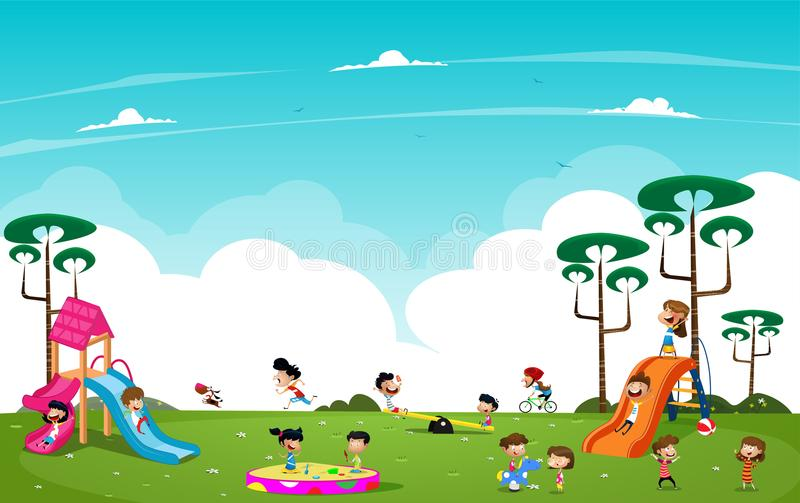 Children playing in the playground. Cartoon children playing in the playground outside. Vector stock illustration