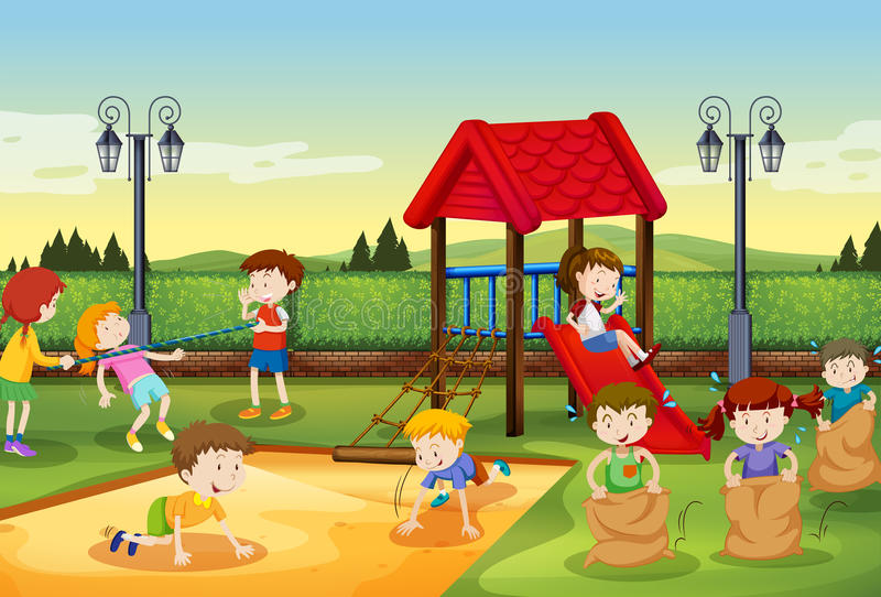 Children playing in the playground vector illustration