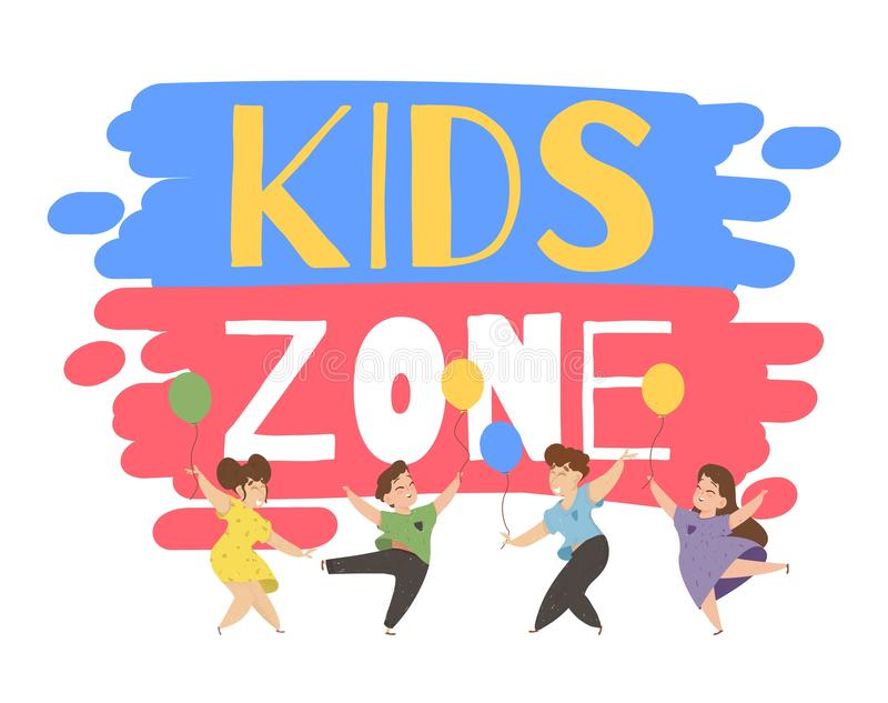 Children Playing on Playground in Kids Zone Place. Children Playing on Playground Dancing and Jumping with Colorful Balloons in Kids Zone Place for Games royalty free illustration