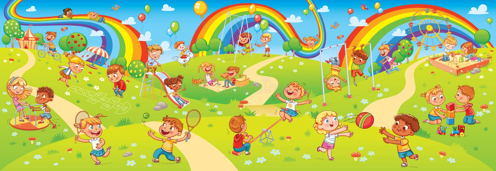 Children playing in playground. Seamless children`s panorama for your design. Children`s entertainment complex with swing, sandbox, carousel and slides in stock illustration