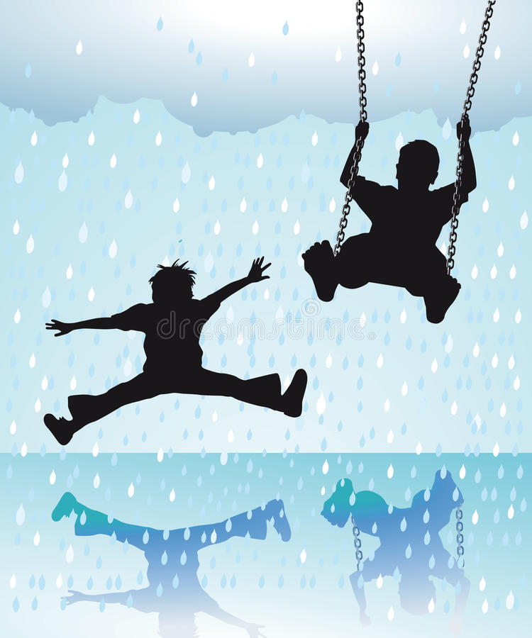 Children Playing in the Rain vector illustration