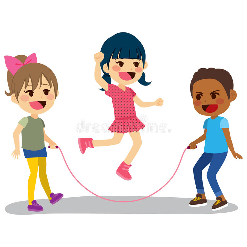 Children Playing Rope vector illustration