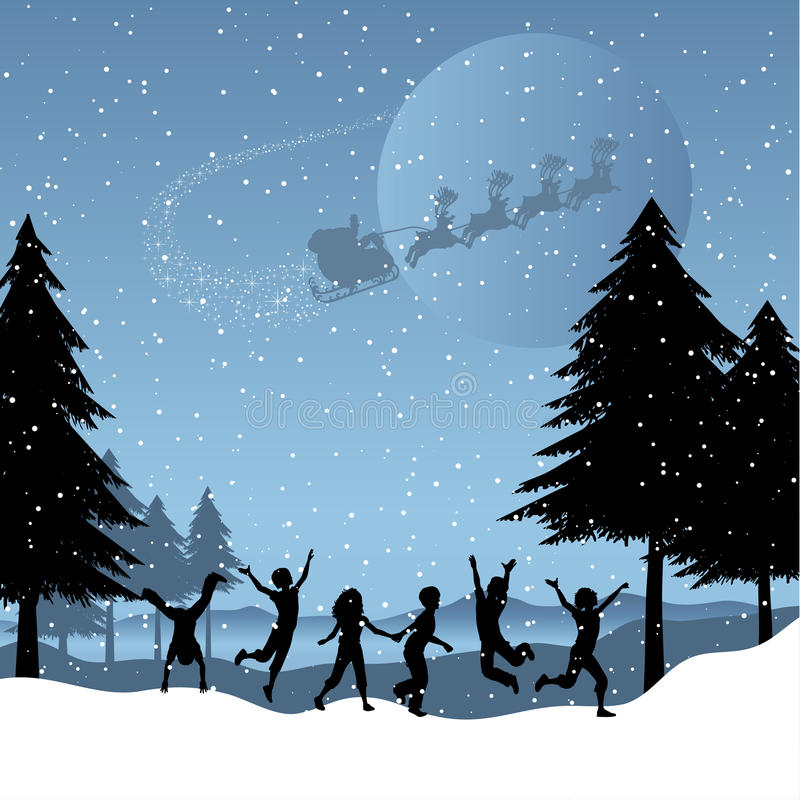Children playing with santa in the sky stock illustration