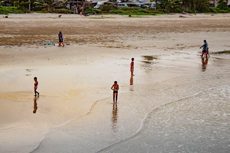 Children playing on Saphli beach , Chumphon in Thailand. 25 Ma stock image