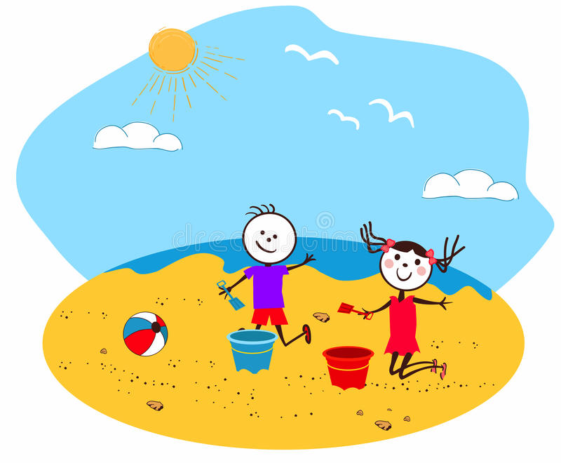 Children playing at the seaside vector illustration