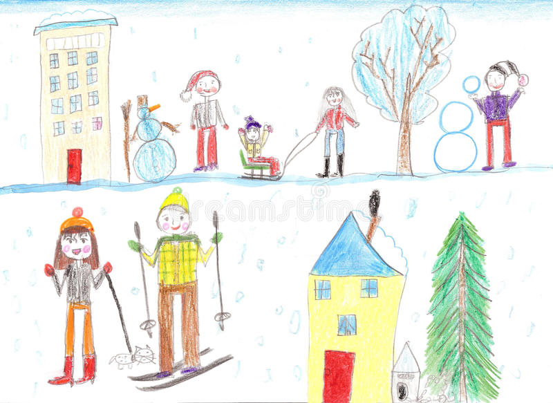 Children playing, skiing and sledding. Make a snowman. Drawing k royalty free illustration