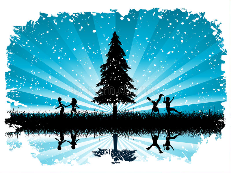 Children playing in snow royalty free illustration