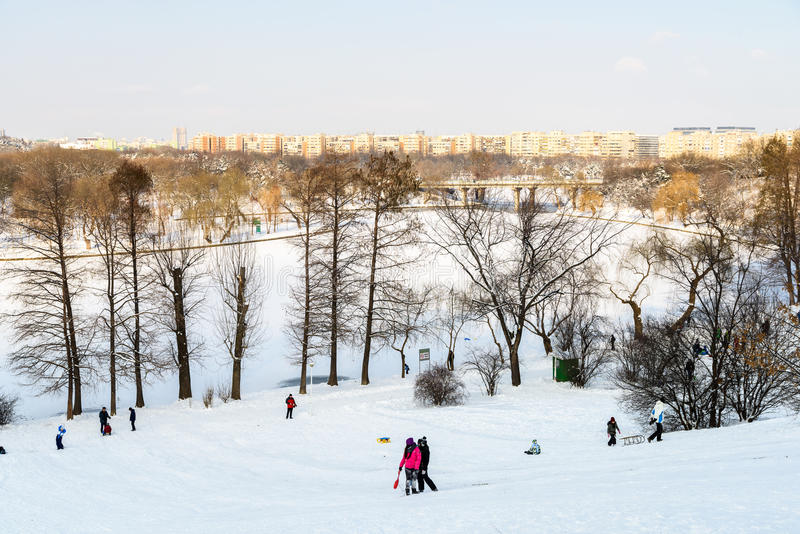 Children Playing With Snow After Snowfall On Winter Day In Tineretului Park Of Bucharest stock photo