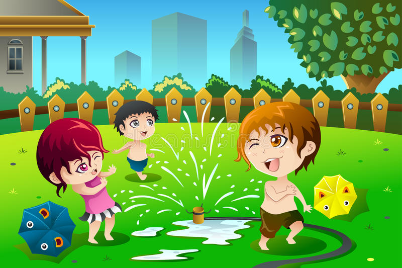 Children playing with sprinkler water in the summer stock illustration