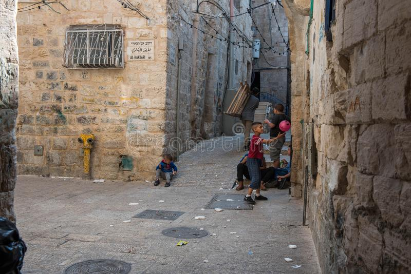Children playing on the streets of Jerusalem royalty free stock photos
