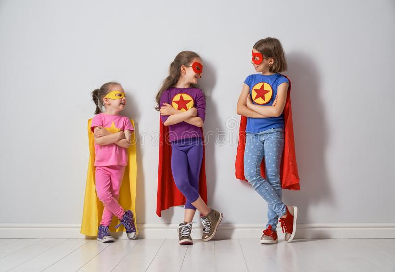 Children are playing superhero royalty free stock images