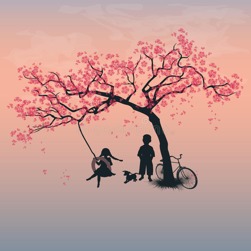 Children playing on a tire swing royalty free illustration