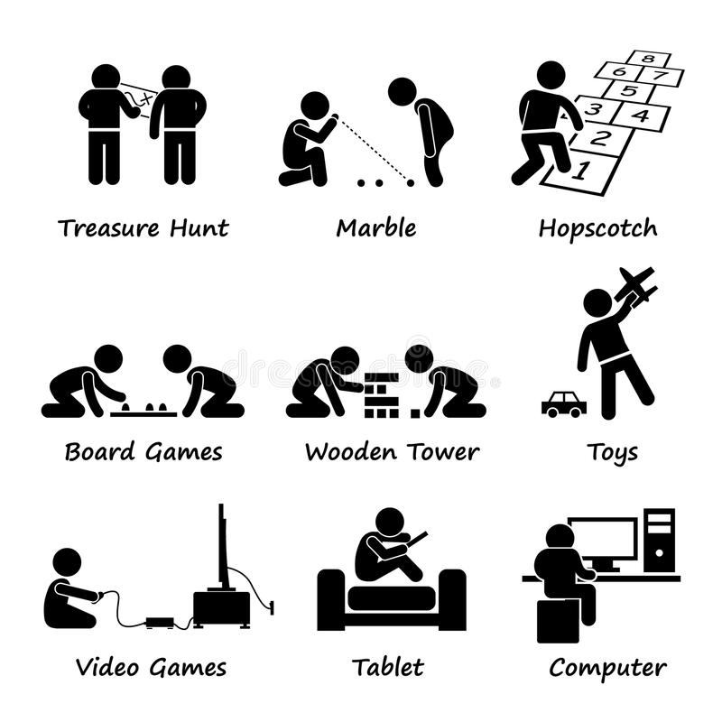 Children Playing Traditional and Modern Games Cliparts. A set of human pictogram representing children playing traditional and modern games such as treasure hunt royalty free illustration