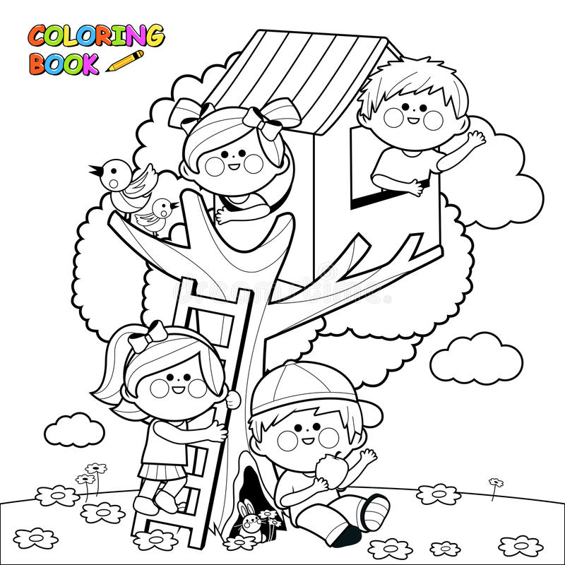 Children playing in a tree house coloring book page. Vector Illustration of children playing in a tree house and climbing on a tree. Coloring book page vector illustration