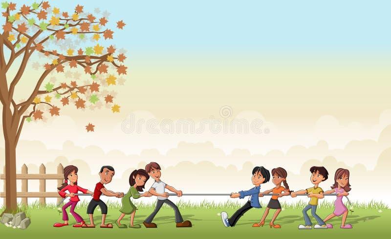 Children playing Tug Of War. Green grass landscape with children playing Tug Of War vector illustration