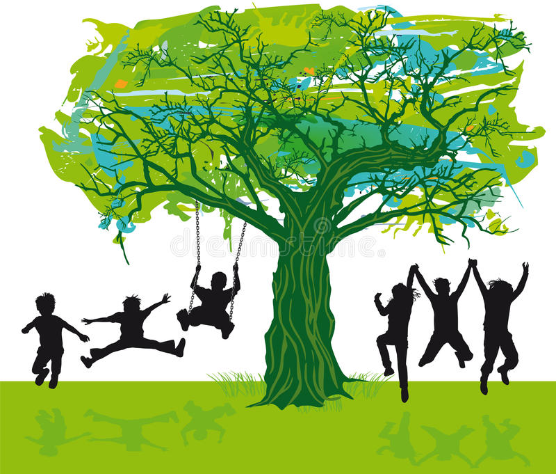 Children playing under a tree stock illustration