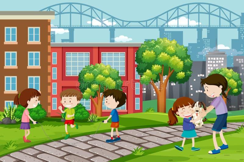 Children playing at urban park royalty free illustration
