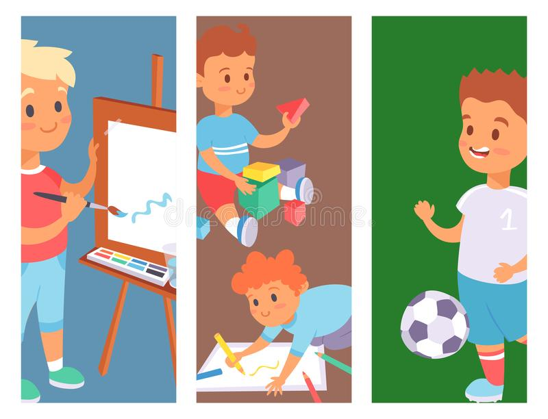 Children playing vector banner different types of home games little kids play summer outdoor active leisure childhood. Children playing vector banner different vector illustration
