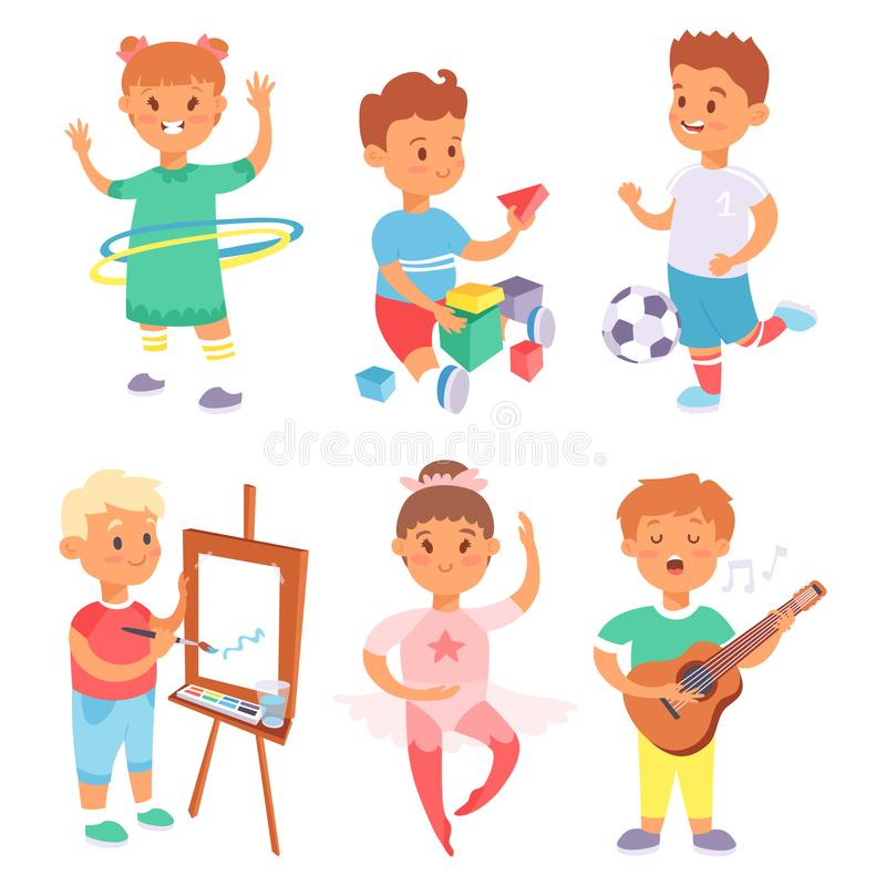 Children playing vector different types of home games little kids play summer outdoor active leisure childhood activity. Children playing vector different types vector illustration