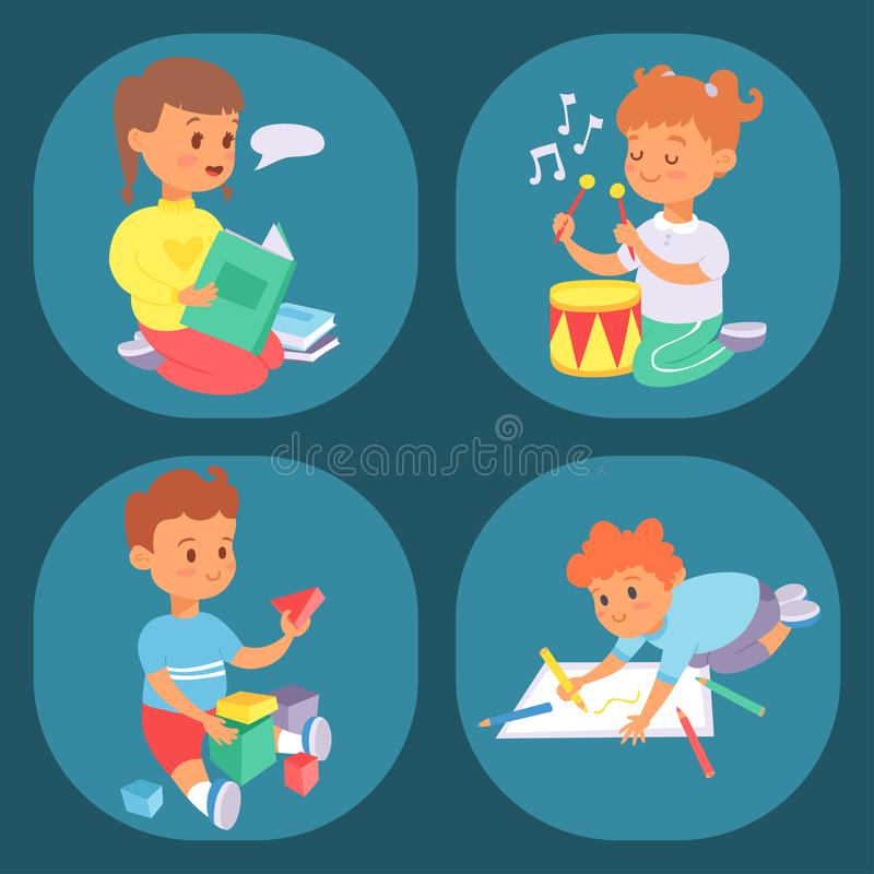 Children playing vector different types of home games little kids play summer outdoor active leisure childhood activity. Children playing vector different types royalty free illustration