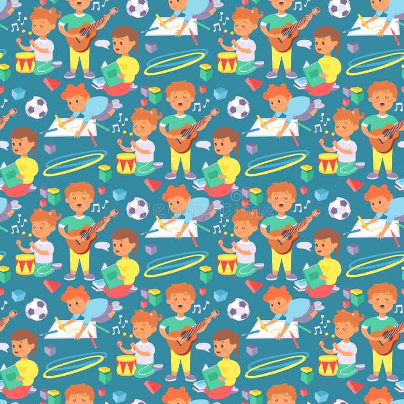 Children playing vector different types of home games little kids play summer outdoor active leisure childhood activity. Children playing vector different types stock illustration