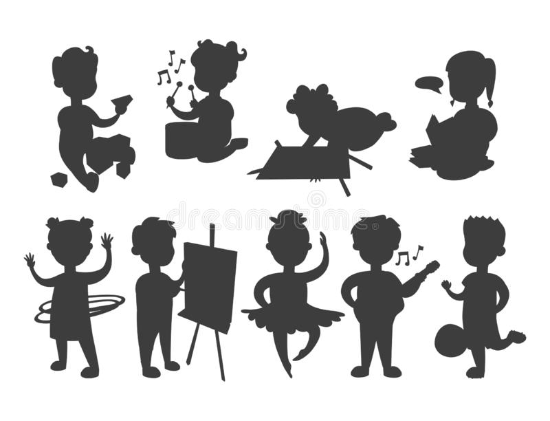 Children playing vector silhouette different types of home games little kids play summer outdoor active leisure. Vector set of young people group friends stock illustration