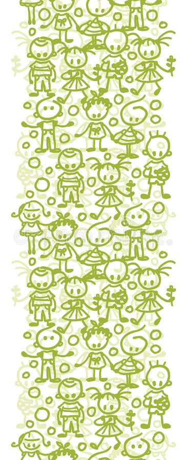 Children playing vertical seamless pattern background border vector illustration