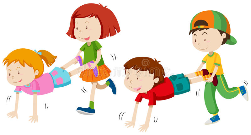 Children playing wheel barrow stock illustration