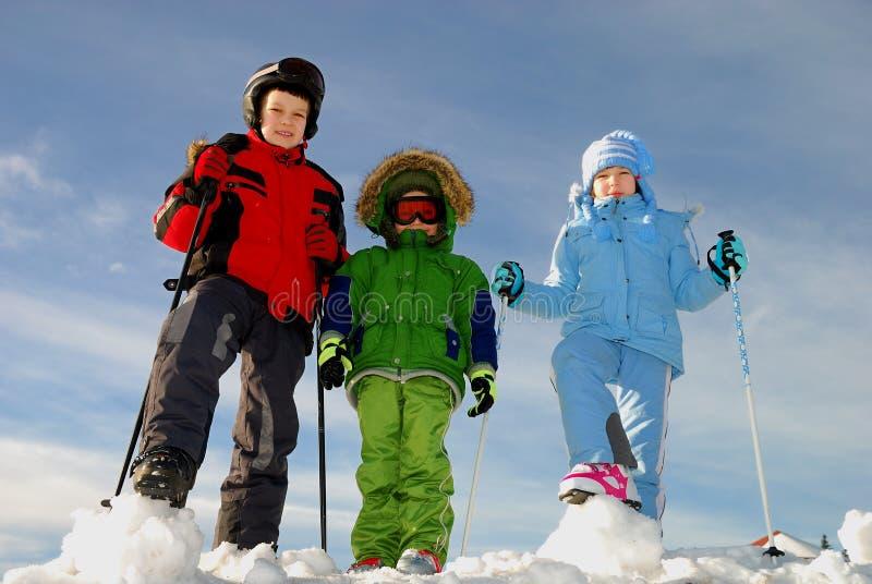 Children playing in winter stock photo