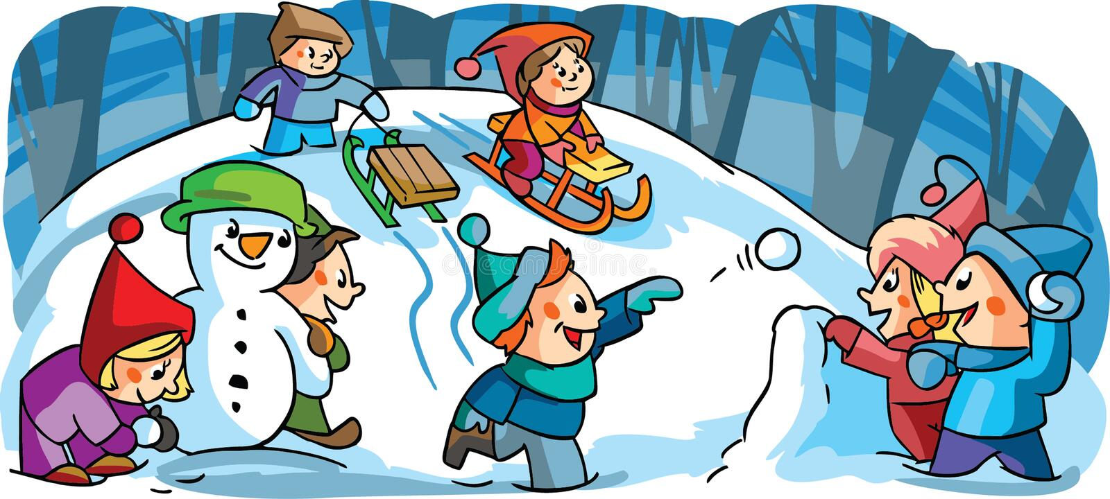 Children playing winter games. With snow stock illustration