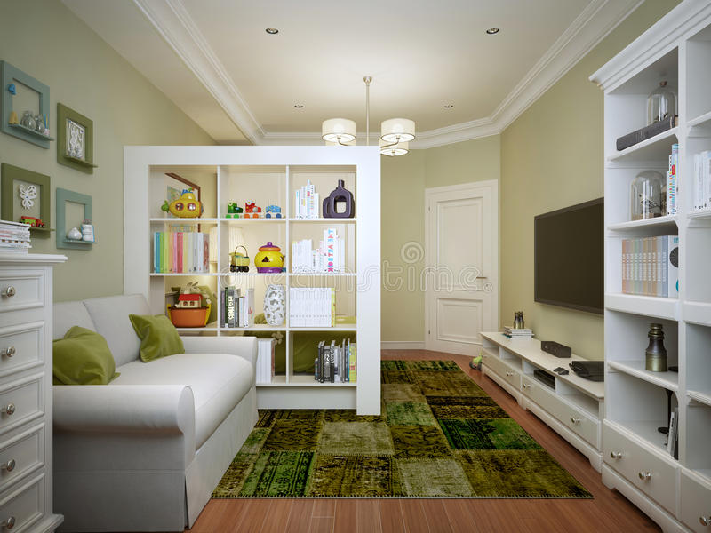 Children pokój dla chłopiec nowożytnego stylu fotografia royalty free