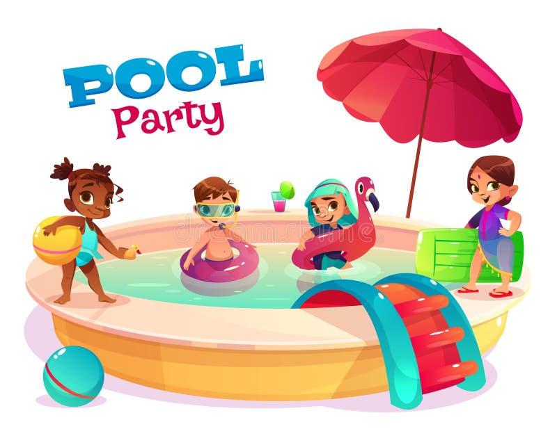 Multiethnic kids swimming in pool carton vector vector illustration