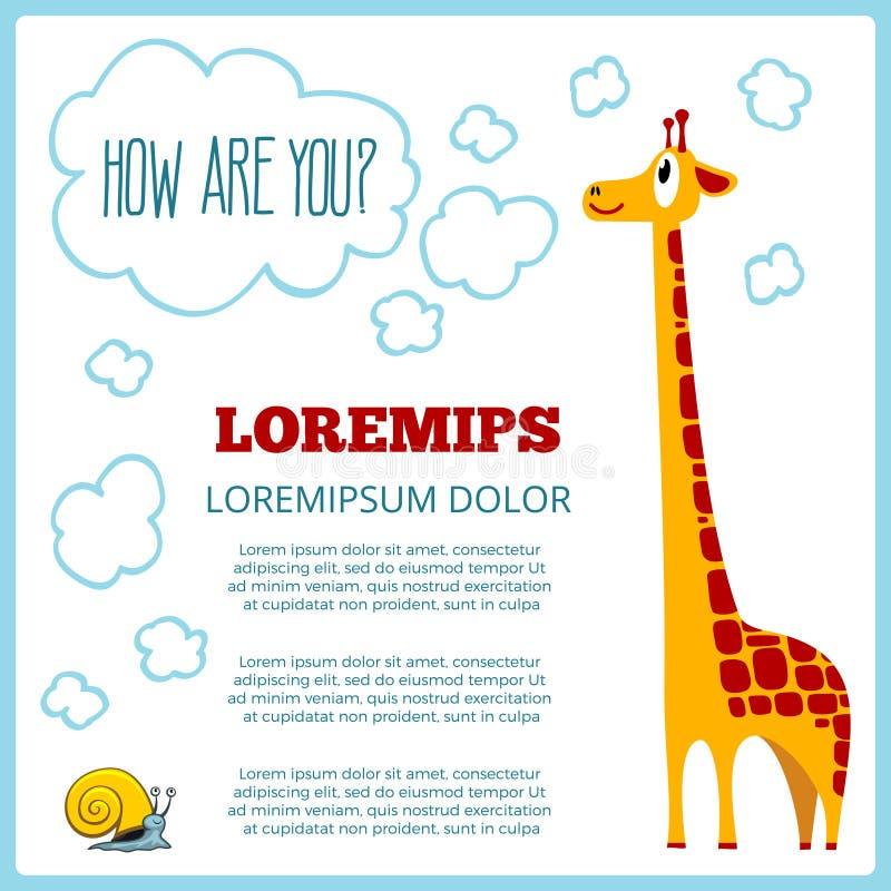 Children poster with cartoon giraffe vector illustration