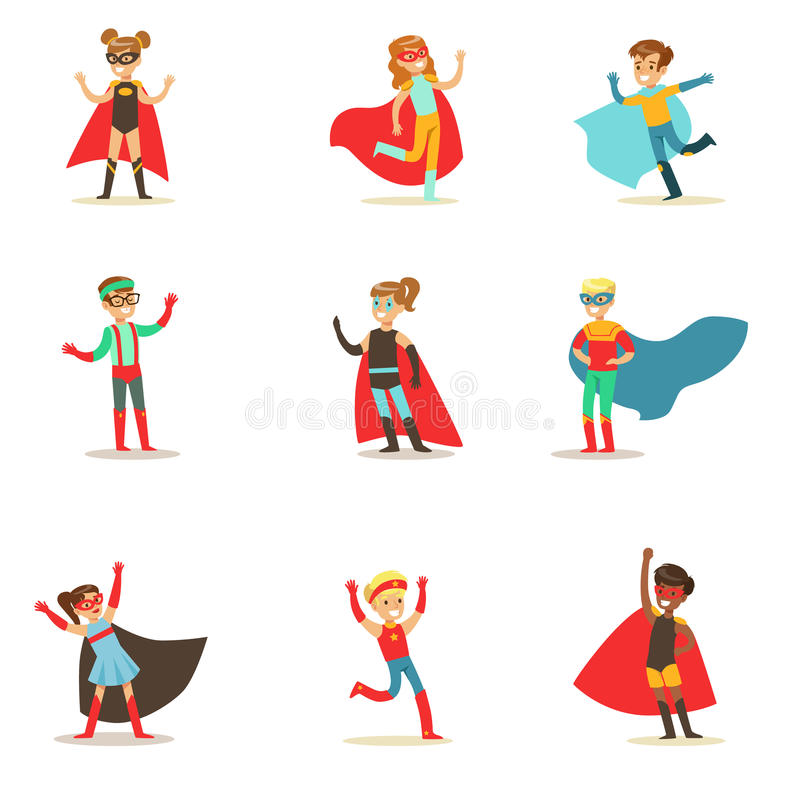 Children Pretending To Have Super Powers Dressed In Superhero Costumes With Capes And Masks Collection Of Smiling stock illustration