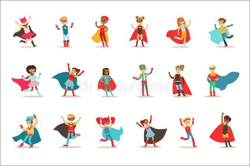 Children Pretending To Have Super Powers Dressed In Superhero Costumes With Capes And Masks Set Of Smiling Characters royalty free illustration