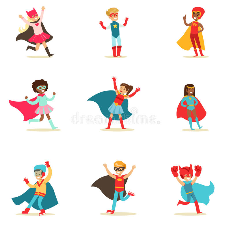 Children Pretending To Have Super Powers Dressed In Superhero Costumes With Capes And Masks Set Of Smiling Characters. Halloween Party Disguised Kids In Comics vector illustration
