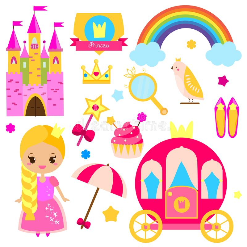 Children princess party design elements. Stickers, clip art for girls. Carriage, castle, rainbow and other fairy symbols stock illustration