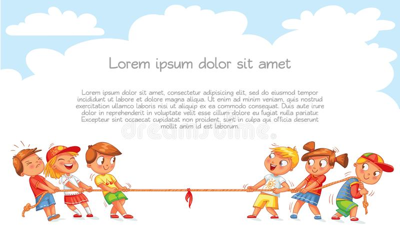 Children pull the rope. Kids playing tug of war. Template for advertising brochure. Ready for your message. Funny cartoon character. Vector illustration stock illustration