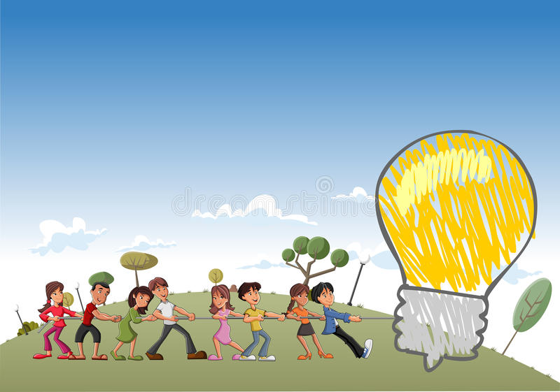 Download Children Pulling A Big Idea Light Bulb Stock Vector - Illustration of cartoon, idea: 27174313