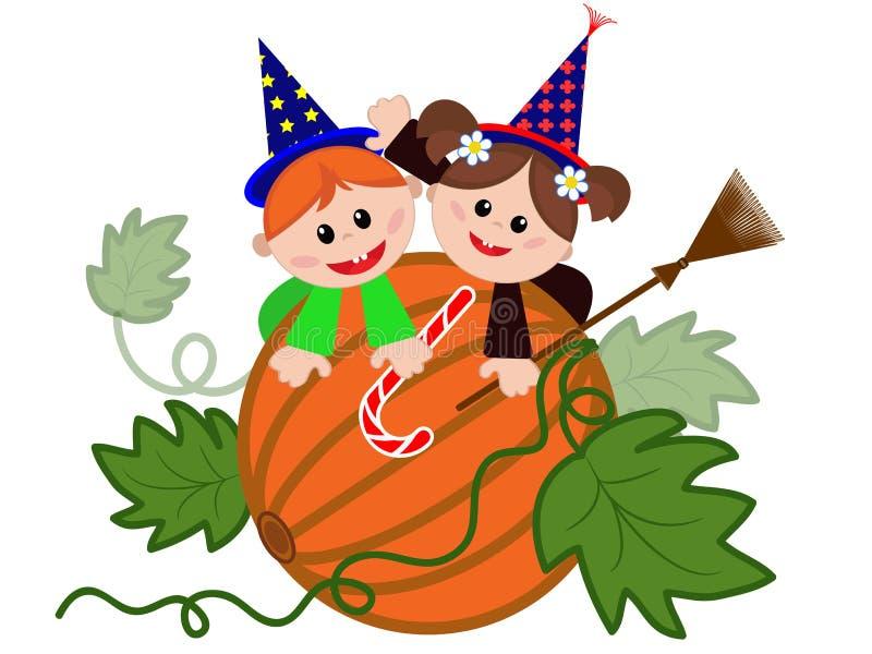 Download Children on the pumpkin. stock vector. Illustration of jade - 31573404