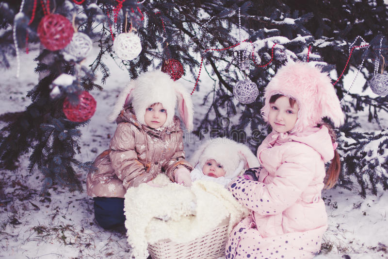 Children in the rabbit hat royalty free stock images