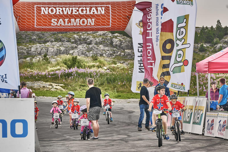 Children during race Tour of Norway for kids stock photo