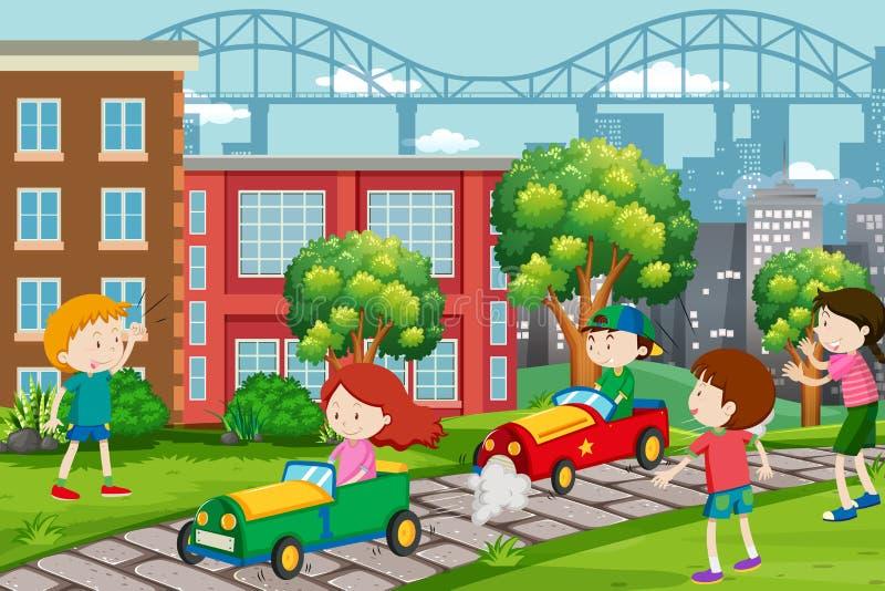 Children racing go karts stock illustration