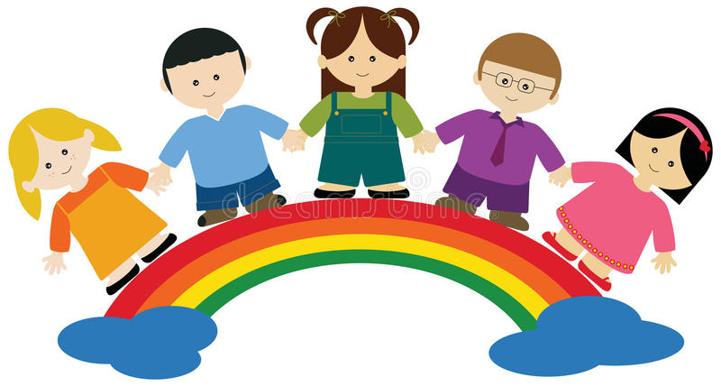Children on rainbow royalty free illustration