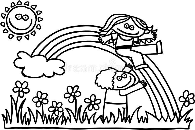 Download Children with rainbow stock vector. Image of cloud, flower - 9780988
